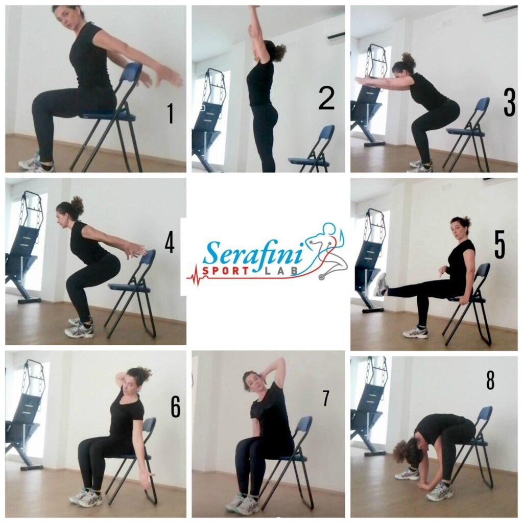 Oggi vi propongo una serie di esercizi da fare a casa oppure quando fate 5 minuti di pausa nel vostro ufficio. Partiremo proprio da seduti per alzarci sollevando le braccia e poi tornare giu' respirando profondamente, poi cercheremo di rimanere sollevati (ma se non ce la fate sedetevi pure), lavorando in isometria su gambe e glutei mentre faremo una rotazione con le nostre braccia inspirando ed espirando (Figure 1, 2, 3). Con la schiena dritta faremo delle estensioni delle gambe lavorando sul retto femorale (Figura 5), poi delle inclinazioni laterali del busto rimanendo con i glutei bene appoggiati ed eseguendo bene la respirazione (Figure 6 e 7). Infine ci rilasseremo flettendo lentamente verso il pavimento la colonna vertebrale (Figura 8).