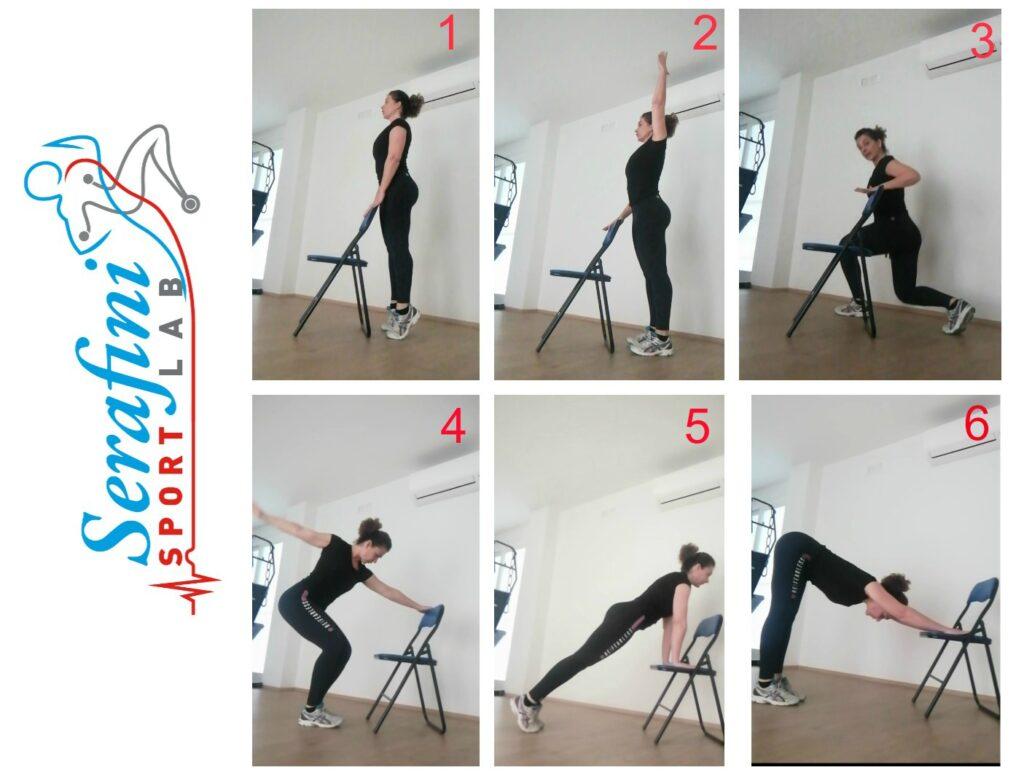 """ggi pubblichiamo il 3° video di esercizi di mobilizzazione articolare e rinforzo muscolare .Puoi farli quando vuoi, bastano 5 minuti. Una volta imparati ,puoi ripeterli facendo 15 -20 ripetizioni per esercizio. Se poi hai 15 minuti , prova a fare di seguito gli esercizi iniziando dal video per il tratto cervicale ,poi gli esercizi con la sedia parte1 e parte 2. Naturalmente durante l'esecuzione non dovrete sentire dolore, in tal caso fermatevi. Il lavoro che vedrete è un lavoro generico, per fare un programma davvero valido occorrerebbero un' analisi e una valutazione specifica per ognuno di voi, cosa che potremo fare in studio, dal mese di Maggio.??? #speriamodirivedercipresto Di seguito gli esercizi che vedremo oggi: 1)Elevazione dei talloni, spostando il peso sull'avampiede. 2)Allungamento alternato delle braccia verso l'alto 3)Affondi alternati 4)Rotazioni indietro alternate delle braccia 5)Plank 6)Allungamento colonna vertebrale (mantieni dai 30"""" ad 1') Torna su lentamente una vertebra dopo l'altra. Non dimenticare la respirazione. Francesca Serafini, dott.ssa in fisioterapia, istruttrice fitness, specializzata in rieducazione posturale."""